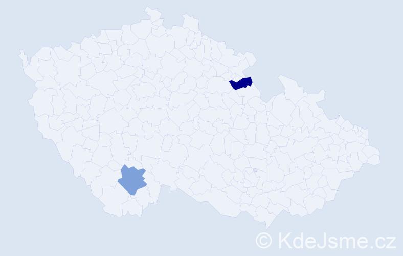 Příjmení: 'Jenneová', počet výskytů 5 v celé ČR