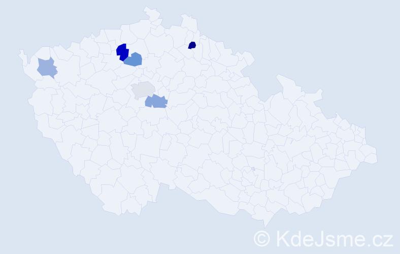 Příjmení: 'Aglerová', počet výskytů 8 v celé ČR