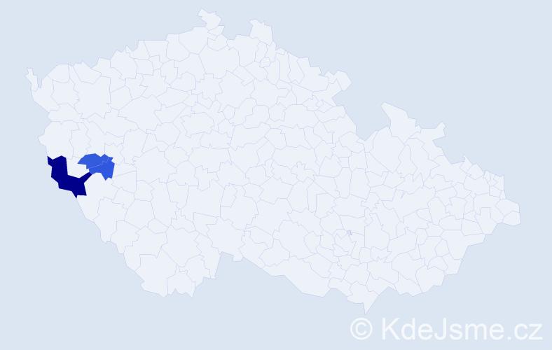 Příjmení: 'Bagoš', počet výskytů 5 v celé ČR