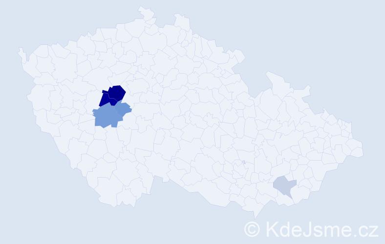 Příjmení: 'Hipčová', počet výskytů 17 v celé ČR