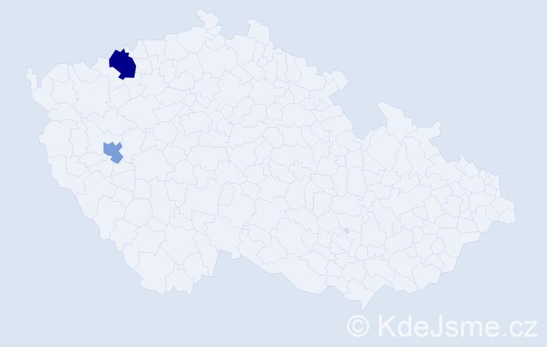 Příjmení: 'Hartan', počet výskytů 3 v celé ČR