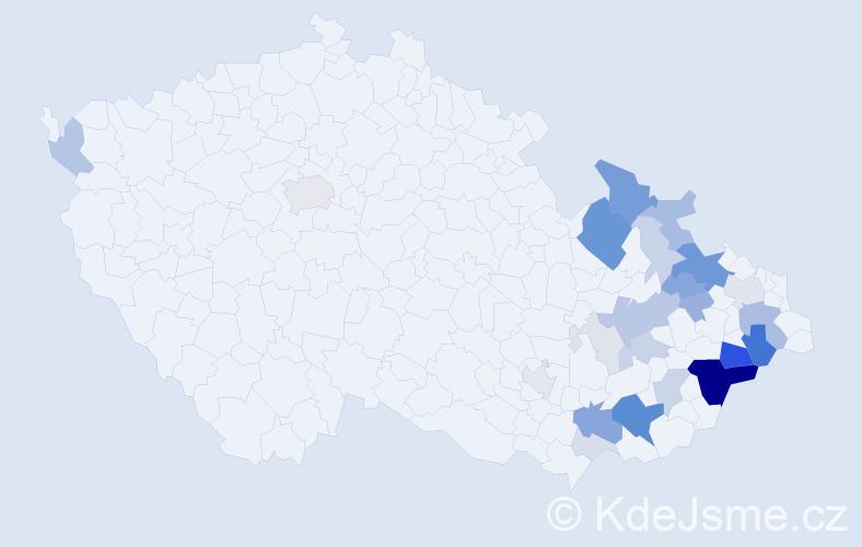 Příjmení: 'Kachtíková', počet výskytů 98 v celé ČR