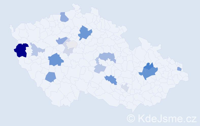 Příjmení: 'Jakubčo', počet výskytů 46 v celé ČR