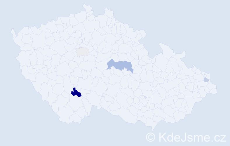 Příjmení: 'Ďuriač', počet výskytů 12 v celé ČR