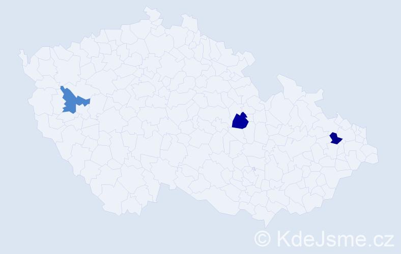 Příjmení: 'Hano', počet výskytů 3 v celé ČR