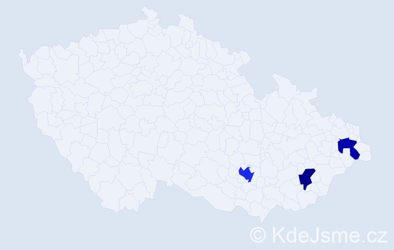Příjmení: 'Černoevičová', počet výskytů 4 v celé ČR