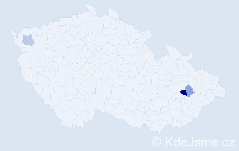 Příjmení: 'Ihraczká', počet výskytů 4 v celé ČR