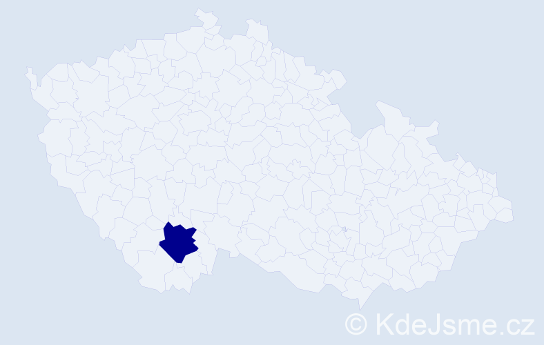 """Příjmení: '""""Kasper Kaltenbrunnerová""""', počet výskytů 1 v celé ČR"""