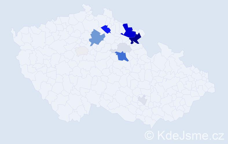 Příjmení: 'Adamů', počet výskytů 52 v celé ČR