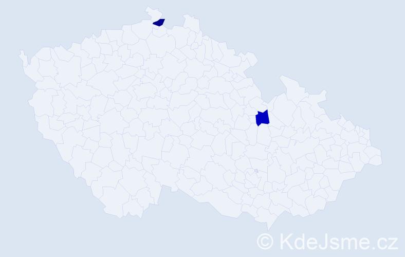 Příjmení: 'Krcalová', počet výskytů 2 v celé ČR