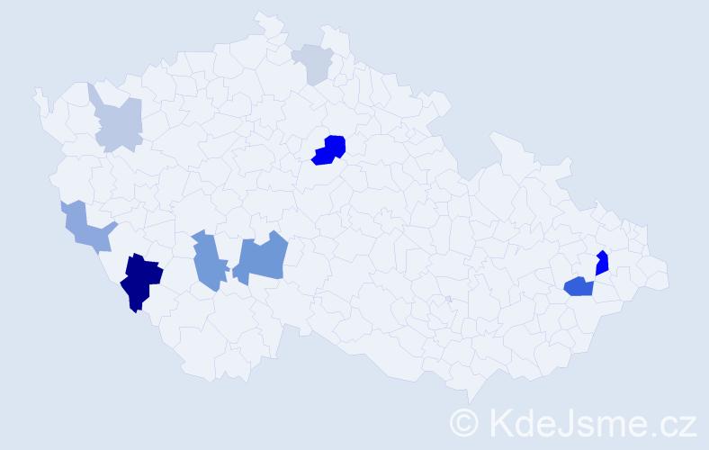 Příjmení: 'Hadvičák', počet výskytů 21 v celé ČR