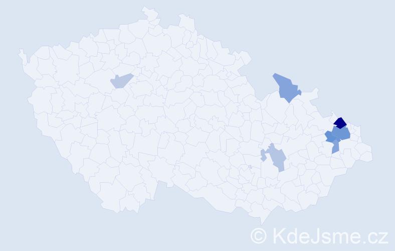 Příjmení: 'Chmelářová', počet výskytů 16 v celé ČR