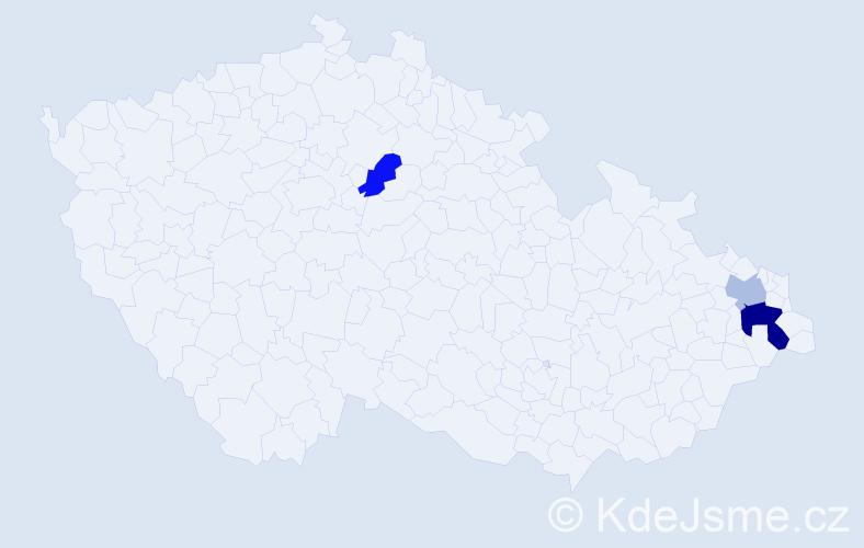 Příjmení: 'Čopaková', počet výskytů 5 v celé ČR