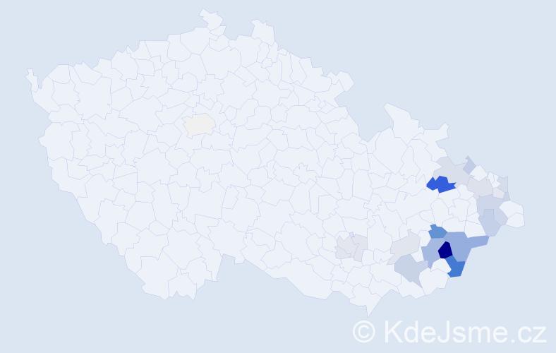 Příjmení: 'Dubčáková', počet výskytů 57 v celé ČR