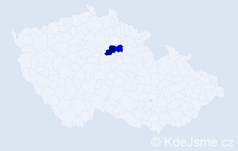 Příjmení: 'Čosíková', počet výskytů 3 v celé ČR