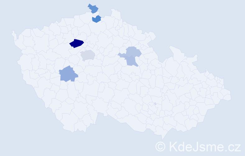 Příjmení: 'Červášek', počet výskytů 11 v celé ČR
