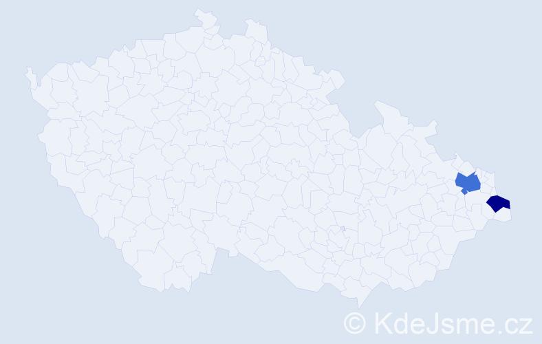 Příjmení: 'Kitko', počet výskytů 3 v celé ČR