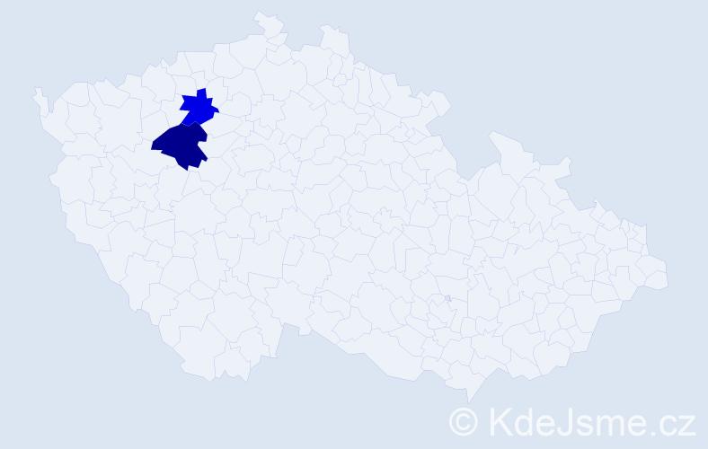 Příjmení: 'Kahát', počet výskytů 5 v celé ČR