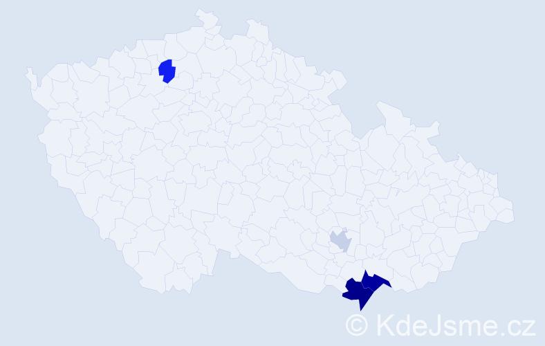 Příjmení: 'Karašinská', počet výskytů 8 v celé ČR