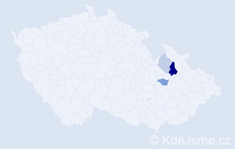 Příjmení: 'Ilkiwová', počet výskytů 9 v celé ČR