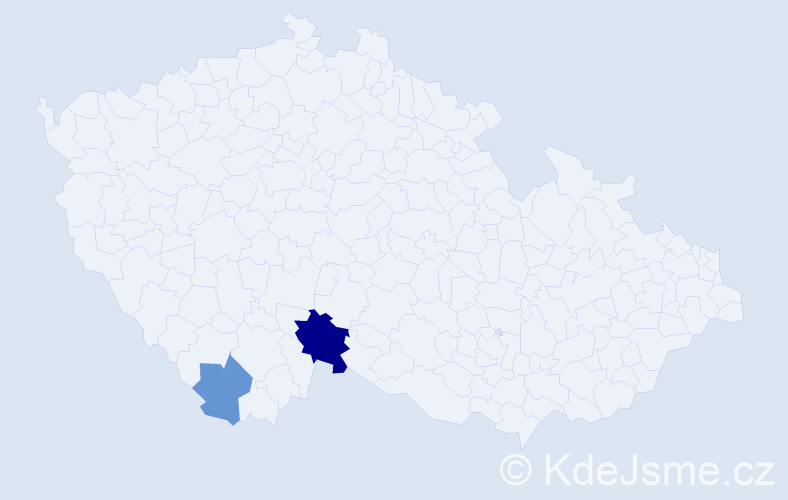 Příjmení: 'Hanslbauer', počet výskytů 4 v celé ČR