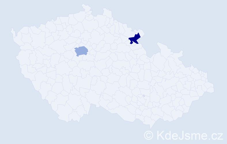 Příjmení: 'Kyntera', počet výskytů 3 v celé ČR