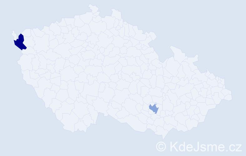 Příjmení: 'Çakmak', počet výskytů 2 v celé ČR
