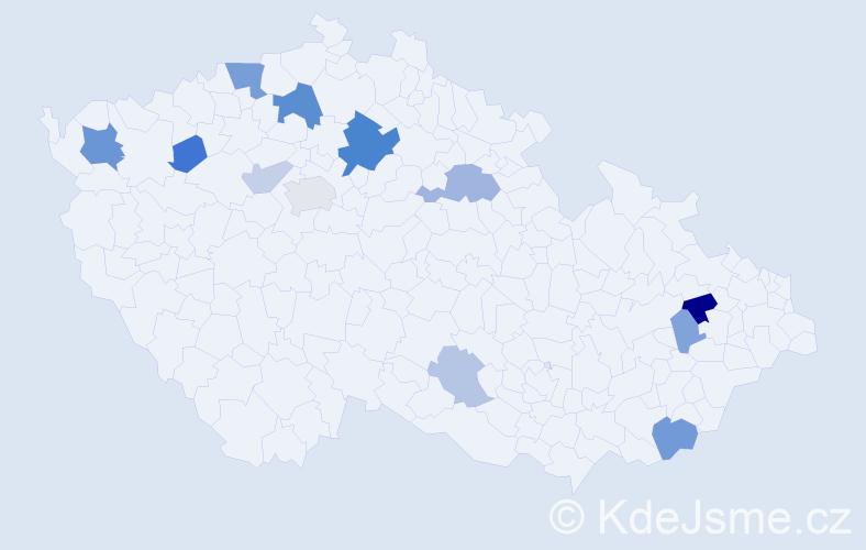 Příjmení: 'Abert', počet výskytů 26 v celé ČR