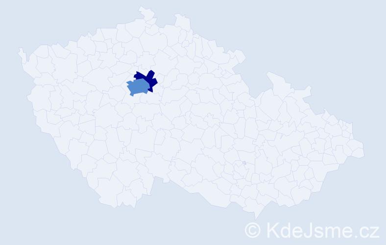 Příjmení: 'Děvěrová', počet výskytů 5 v celé ČR