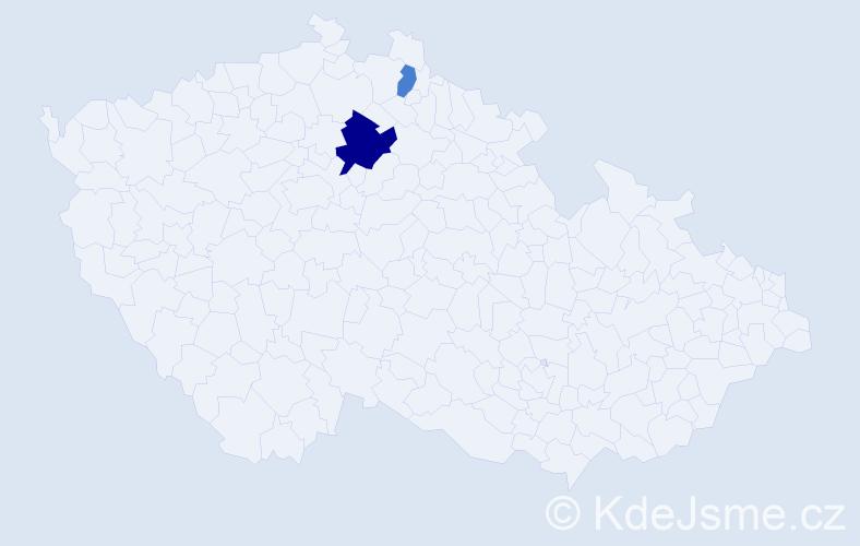 Příjmení: 'Čegiňová', počet výskytů 4 v celé ČR