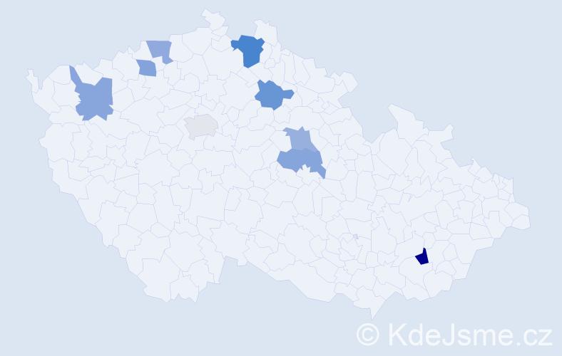 Příjmení: 'Halaburková', počet výskytů 12 v celé ČR