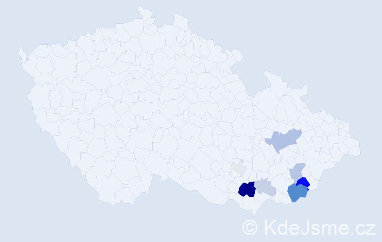 Příjmení: 'Heča', počet výskytů 22 v celé ČR