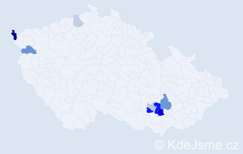 Příjmení: 'Blaženková', počet výskytů 16 v celé ČR