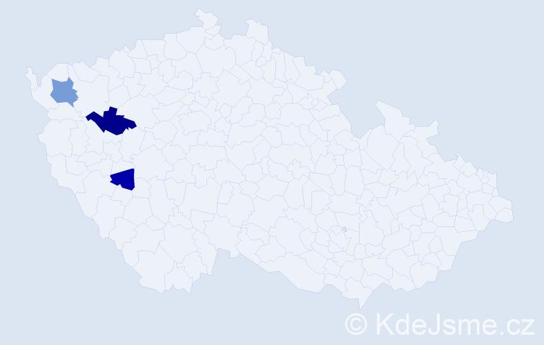 Příjmení: 'Gauderová', počet výskytů 5 v celé ČR