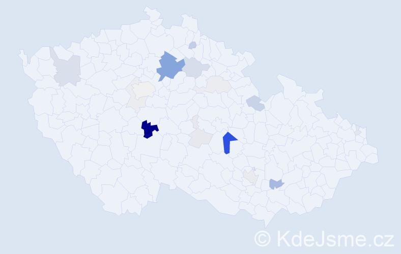 Příjmení: 'Klapač', počet výskytů 56 v celé ČR