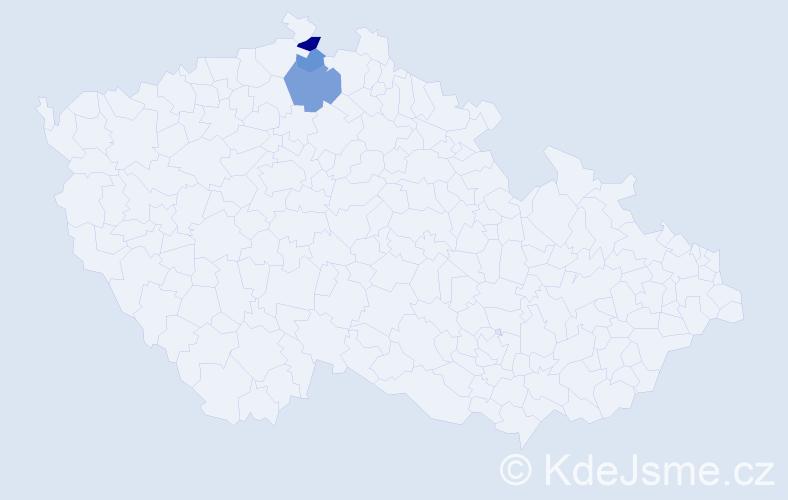 Příjmení: 'Čubiňák', počet výskytů 5 v celé ČR