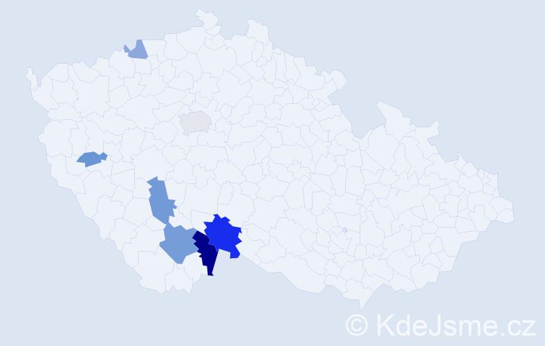Příjmení: 'Blízek', počet výskytů 17 v celé ČR