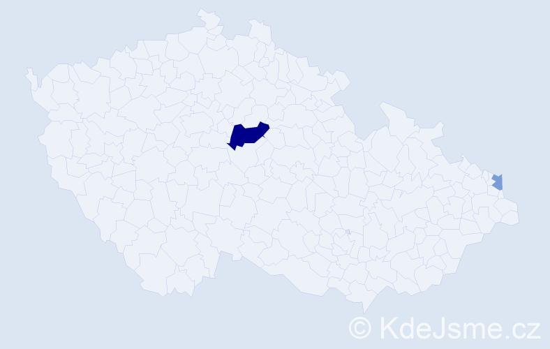Příjmení: 'Bug', počet výskytů 9 v celé ČR