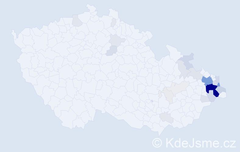 Příjmení: 'Bongilajová', počet výskytů 124 v celé ČR