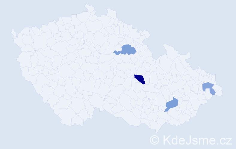 Příjmení: 'Fejkusová', počet výskytů 9 v celé ČR