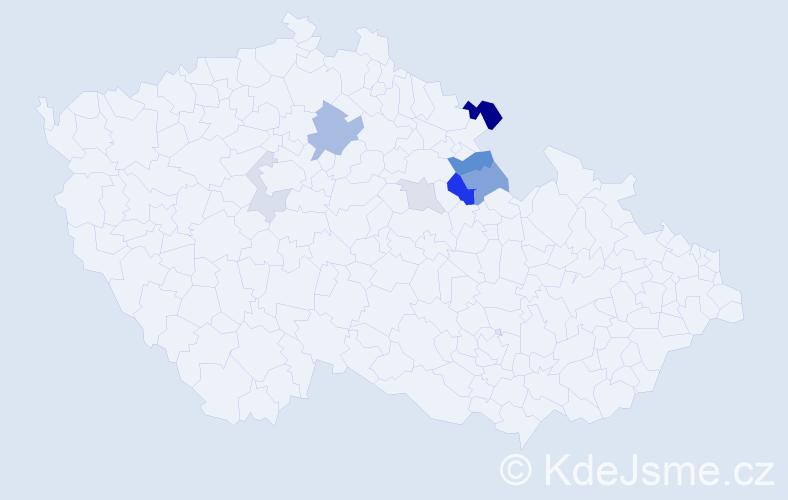 Příjmení: 'Čepe', počet výskytů 17 v celé ČR