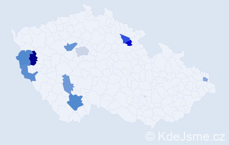 Příjmení: 'Cimfe', počet výskytů 15 v celé ČR