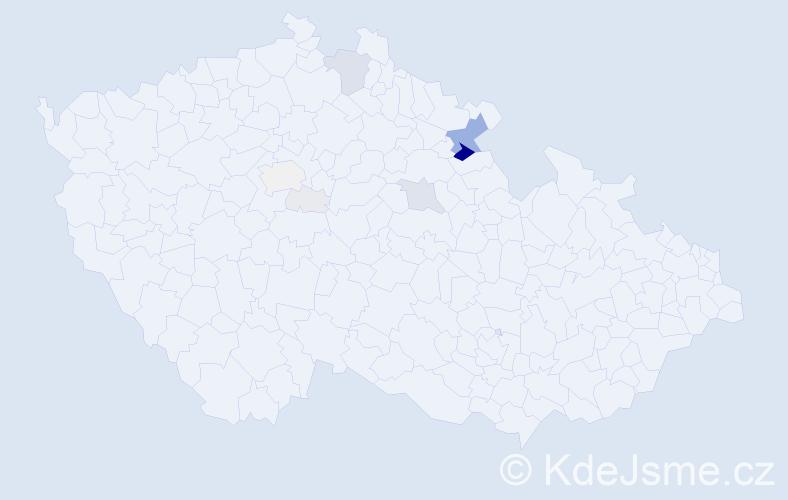 Příjmení: 'Macháně', počet výskytů 43 v celé ČR