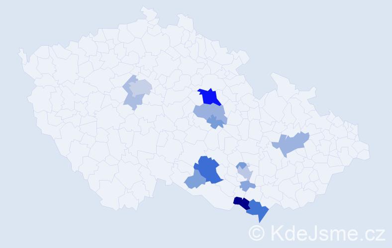 Příjmení: 'Kouřílek', počet výskytů 49 v celé ČR