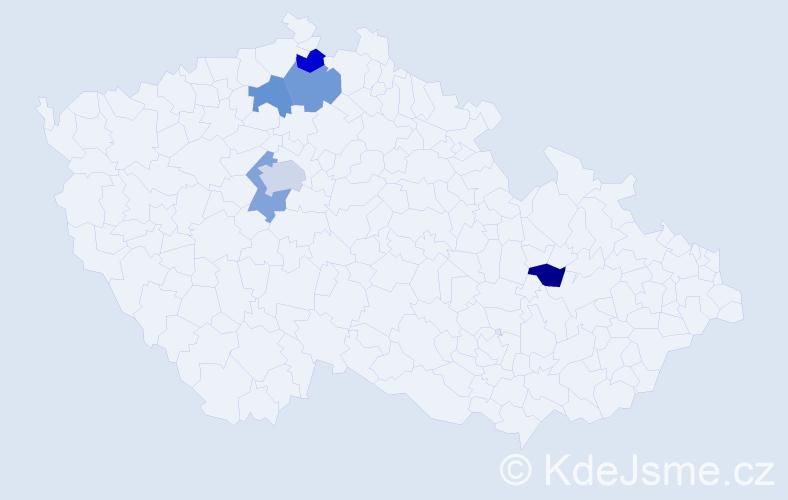 Příjmení: 'Blekta', počet výskytů 7 v celé ČR