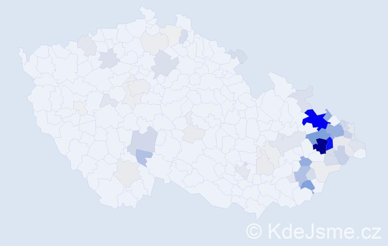 Příjmení: 'Havrlantová', počet výskytů 300 v celé ČR