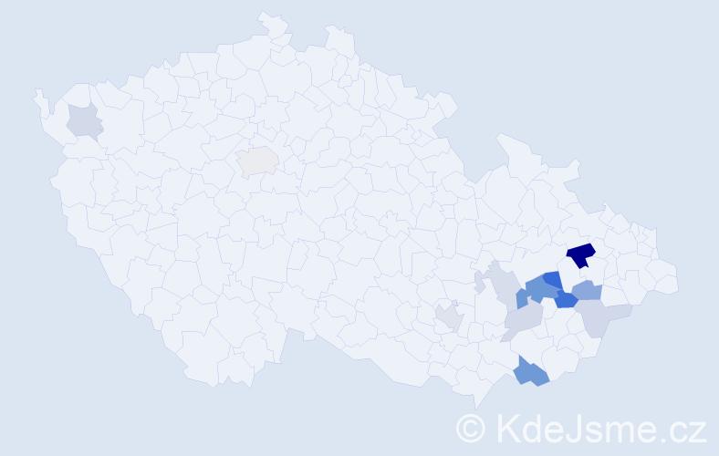 Příjmení: 'Dermíšek', počet výskytů 27 v celé ČR