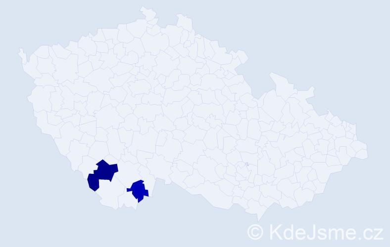 Příjmení: 'Imbera', počet výskytů 3 v celé ČR
