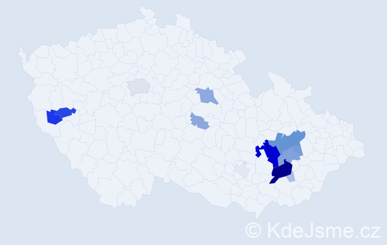 Příjmení: 'Dostálík', počet výskytů 60 v celé ČR