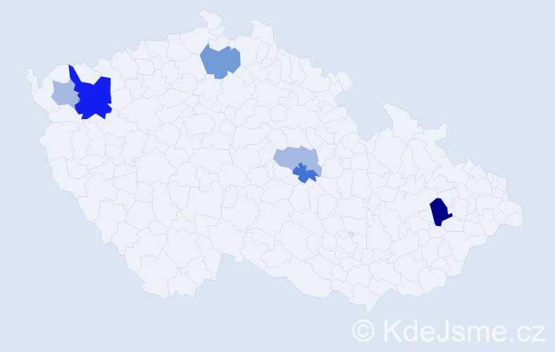 Příjmení: 'Káďová', počet výskytů 13 v celé ČR